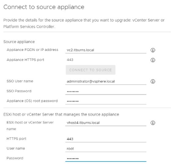 Source appliance information fields