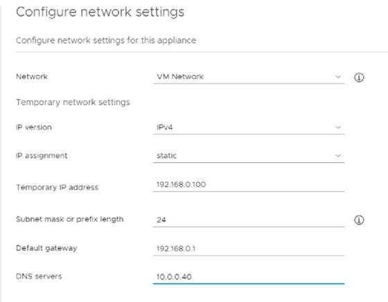 VCenter configuration settings